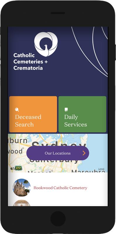 Catholic Cemeteries App homepage