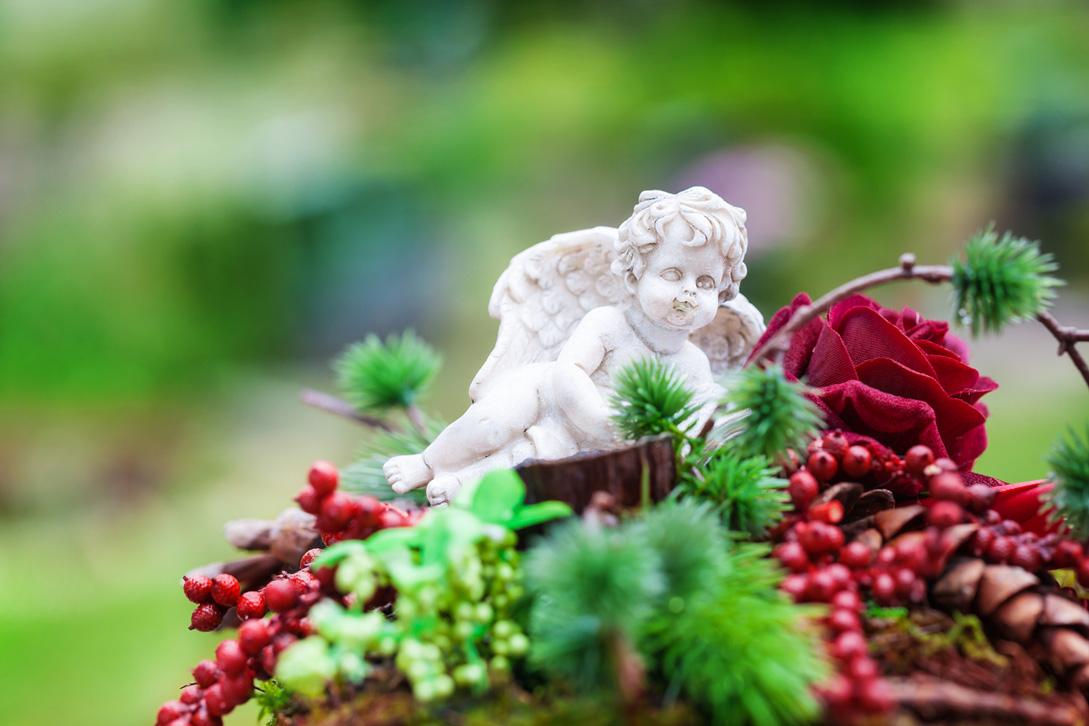Garden statue of an angel